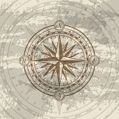 Grunge Background With Compass Rose. Geography Research, Worldwide Traveling And Nature Exploration. poster