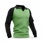Mens zip neck pullover with raglan sleeves, rubber cuffs and collar. 3d rendering. Clipping paths i poster