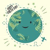 Happy Planet Earth Day, April 22 Ecology Celebration. Greeting Card. Vector Background With Sky And  poster