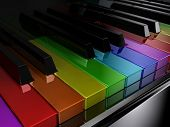 pic of rainbow piano  - The black piano with keys of different colours of a rainbow - JPG