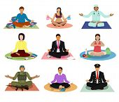 Meditation Vector Meditating People Practice Yoga And Characters Of Pregnant Woman Or Businessman Me poster