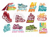 Run Lettering On Running Shoes Vector Sneakers Or Trainers With Text Signs For Typography Illustrati poster