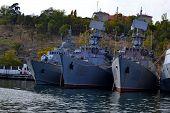 Постер, плакат: Military Navy Ships In Sea Bay Sea Convoy Marine Desroyer Boat With Radar Grey Modern Military War