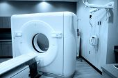 picture of cat-scan  - Modern CT scan equipment in hospital with cyan color tone - JPG