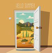 Open Door. Valley Landscape. Cartoon Vector Illustration. Vintage Poster. Welcome To Real World. Ret poster