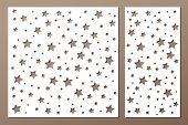 Set Decorative Panel Laser Cutting. Wooden Panel. Elegant Modern Geometric Abstract Holiday Pattern. poster