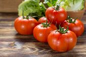 Tasty Red Ripe Tomatoes Gourmato From Belgium With Green Lettuce, Ingredients For Healthy Salad Clos poster