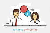 Business Consulting And Corporate Solution. Flat Line Vector Contour Illustration Of Business Woman  poster