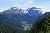 View Of The Mountains Of The Dolomites Of Val Di Fassa In Italy