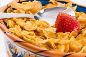 Corn Flakes And Strawberries - Close Up