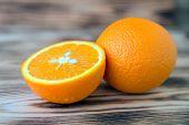 Sliced Orange Orange Orange On Wooden Background Macro Photo poster