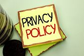 Conceptual Hand Writing Showing Privacy Policy. Business Photo Showcasing Document Information Secur poster