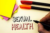 Handwriting Text Writing Sexual Health. Concept Meaning Std Prevention Use Protection Healthy Habits poster