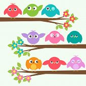 Set Of Cute Birds With Different Emotions On Blooming Branch Trees. Vector Collection Colorful Birds poster