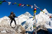 View Of Mount Everest With Tourist And Buddhist Prayer Flags From Kala Patthar And Blue Sky - Way To poster