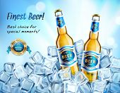 Realistic Glass Bottles Of Light Beer In Ice Cubes Ad Poster On Blue Blurred Background Vector Illus poster