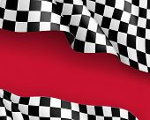 Racing Flag Canvas Realistic Red Background. Symbol Marking Start And Finish. Vector Illustration poster