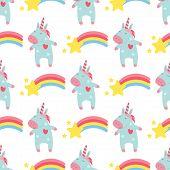 Cute Unicorn Baby Vector Seamless Pattern Background Illustration Magic Rainbow Fantasy Fairy Design poster