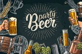 Horizontal Poster Beer Set With Tap, Glass, Bottle, Hop Branch With Leaf, Ear Of Barley, Barrel, Tan poster