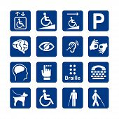 Blue Square Set Of Disability Icons. Disabled Icon Set. Mental, Physical, Sensory, Intellectual Disa poster