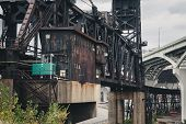 The Norfolk Southern Cuyahoga River Bridge With The George V. Voinovich Bridge In The Background. It poster
