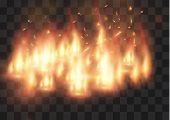Vector Realistic Fire Transparent Special Effect Element. A Hot Flame Is Bursting. Campfire.heat Ove poster
