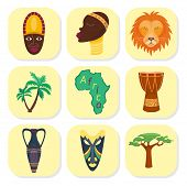 Africa Vector Icons Jungle Tribal And Ancient Safari African Traditional Travel Culture Illustration poster