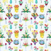 Vintage Floral Vector Bouquet Garden Flower Seamless Pattern Background. Botanical Natural Peonies I poster