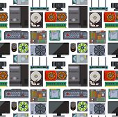 Computer Parts Network Component Accessories Various Electronics Devices Seamless Pattern Background poster