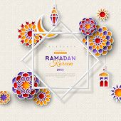 Ramadan Kareem Concept Banner With Islamic Geometric Patterns And Eight Pointed Star Frame. Paper Cu poster