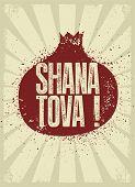 Shana Tova! Typographic Vintage Grunge Style Jewish New Year Poster. Rosh Hashanah Greeting Card. Re poster