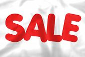 White Silk Sale Banner With Red Text