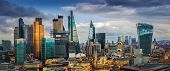 London, England - Panoramic Skyline View Of Bank And Canary Wharf, Londons Leading Financial Distri poster