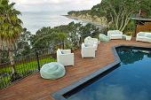 Well Landscaped Pool Area with beautiful sea view