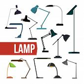 Lamp Set Vector. Table Desk Office Modern Lamps. Indoor Electricity Creative Modern Furniture Light. poster