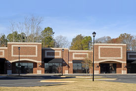 image of commercial building  - Facade of a New Commercial Building with Retail and Office Space for Lease - JPG