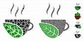 Organic Coffee Cup Mosaic Of Joggly Items In Different Sizes And Color Tinges, Based On Organic Coff poster