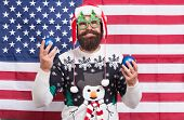 American Celebration. Bearded Man Celebrate Christmas And New Year. Santa Claus In Patriotic Mood. H poster