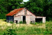 Rustic Red and Gray Slatted Barn
