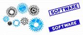 Mosaic Gear Mechanism Icon And Rectangle Seal Stamps. Flat Vector Gear Mechanism Mosaic Icon Of Rand poster