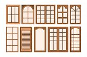 Vector Illustration Of Brown Wood Window, Flat Design Window Isolated White Background, Window Icon  poster