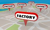 Factory Manufacturing Plants Map Pins Factories Locations 3d Illustration poster