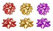 Set Of Bright Gift Bows, Realistic. Accessory For Gift Wrapping. Top View And Side View. Isolated On poster