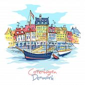 Vector Sketch Of Nyhavn With Colorful Facades Of Old Houses And Old Ships In The Old Town Of Copenha poster