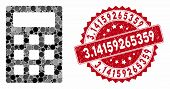 Mosaic Calculator And Corroded Stamp Seal With 3.14159265359 Caption. Mosaic Vector Is Created With  poster