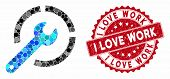 Collage Configure Spanner And Rubber Stamp Seal With I Love Work Text. Mosaic Vector Is Created With poster