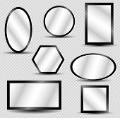 Vector Realistic Mirrors Set With Blurry Reflection. Reflective Mirror Surface In Silver Frame, Mirr poster