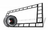 Lens & Film Strip Border On White