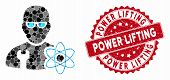 Mosaic Power Engineer And Rubber Stamp Seal With Power Lifting Text. Mosaic Vector Is Formed With Po poster