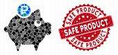 Mosaic Rouble Piggy Bank And Distressed Stamp Seal With Safe Product Phrase. Mosaic Vector Is Formed poster